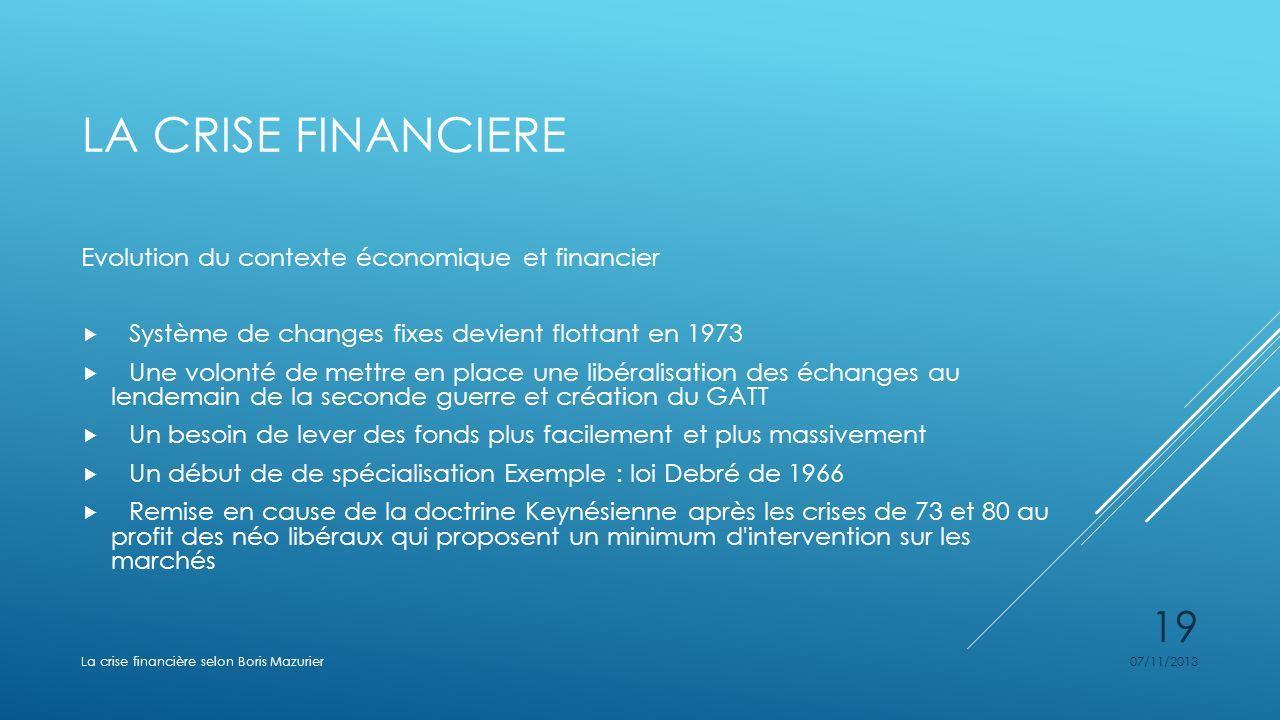 La crise financiere Evolution du contexte économique et financier