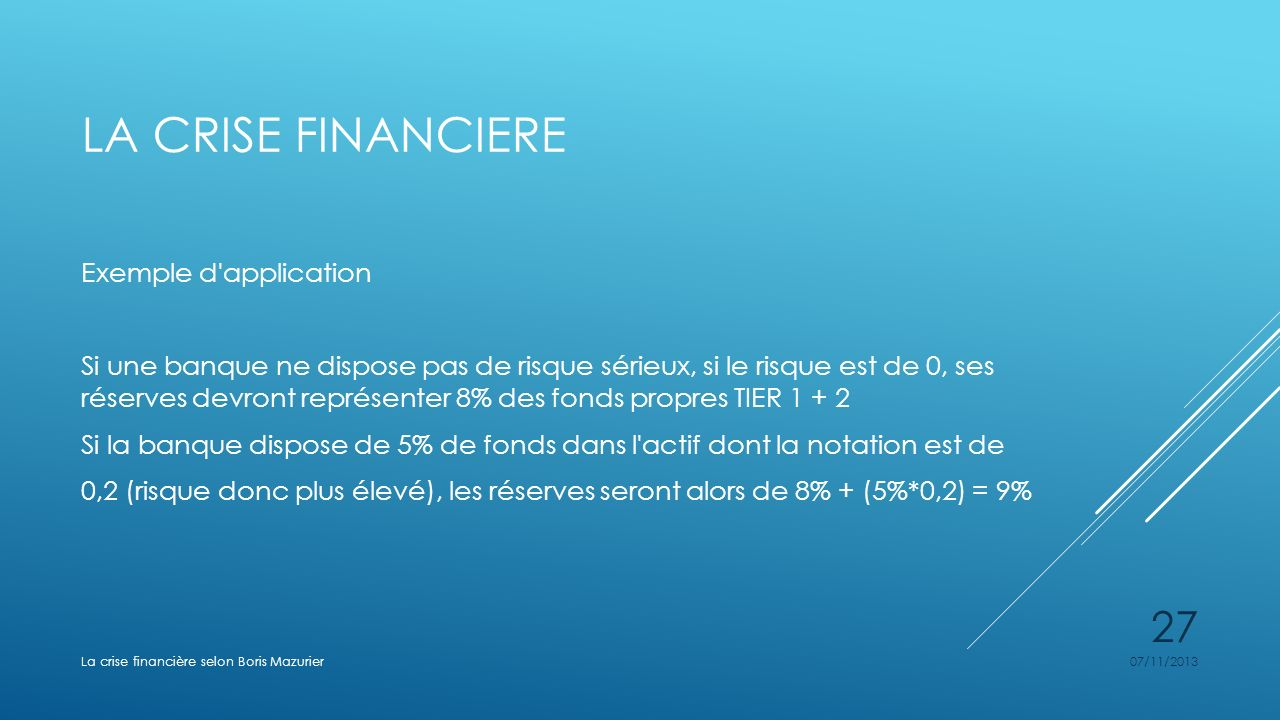 La crise financiere Exemple d application