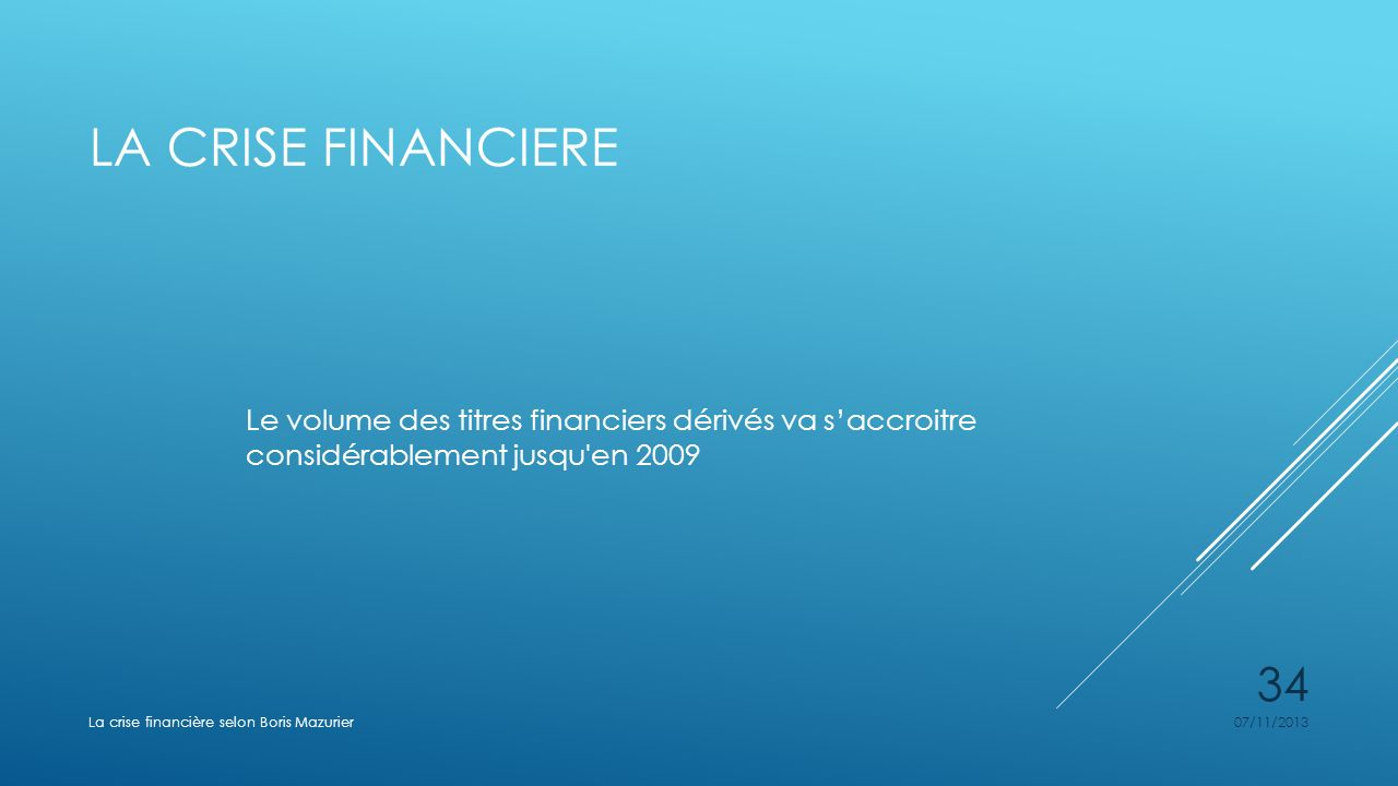 La crise financiere Le volume des titres financiers dérivés va s'accroitre considérablement jusqu en 2009.