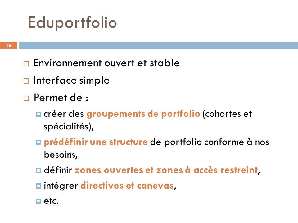 Eduportfolio Environnement ouvert et stable Interface simple