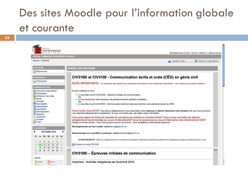Des sites Moodle pour l'information globale et courante