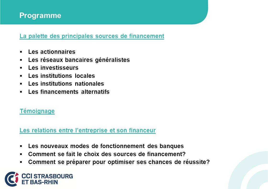 Programme La palette des principales sources de financement