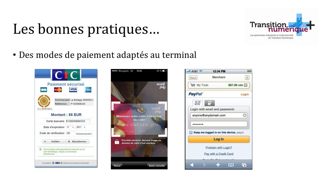 Les bonnes pratiques… Des modes de paiement adaptés au terminal