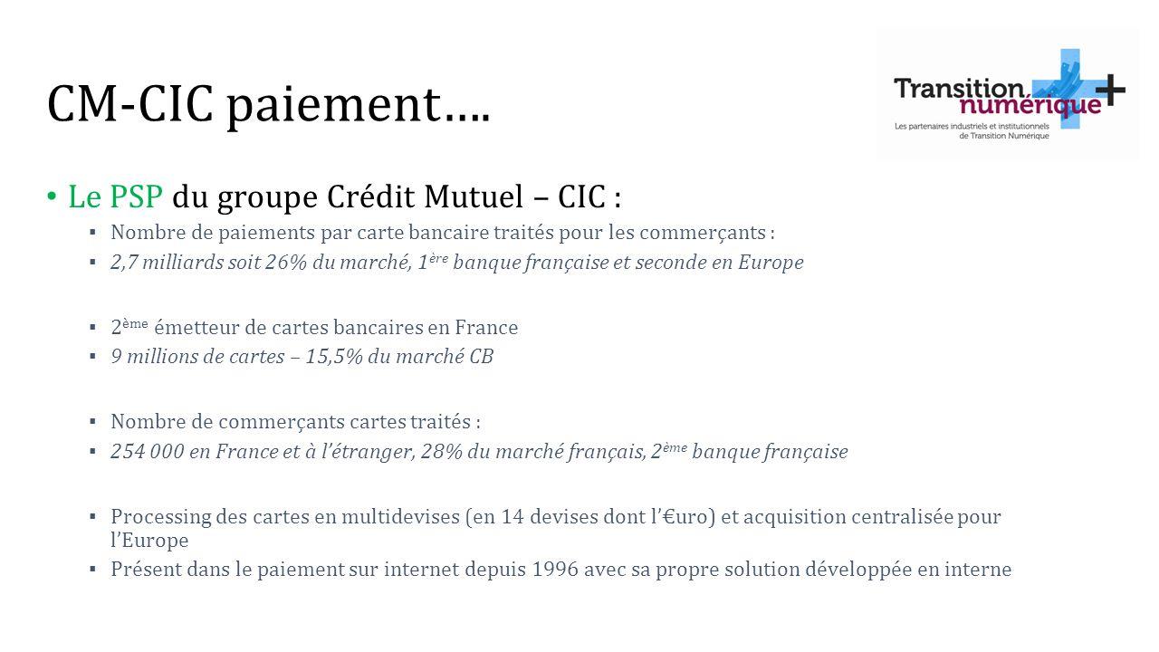 CM-CIC paiement…. Le PSP du groupe Crédit Mutuel – CIC :