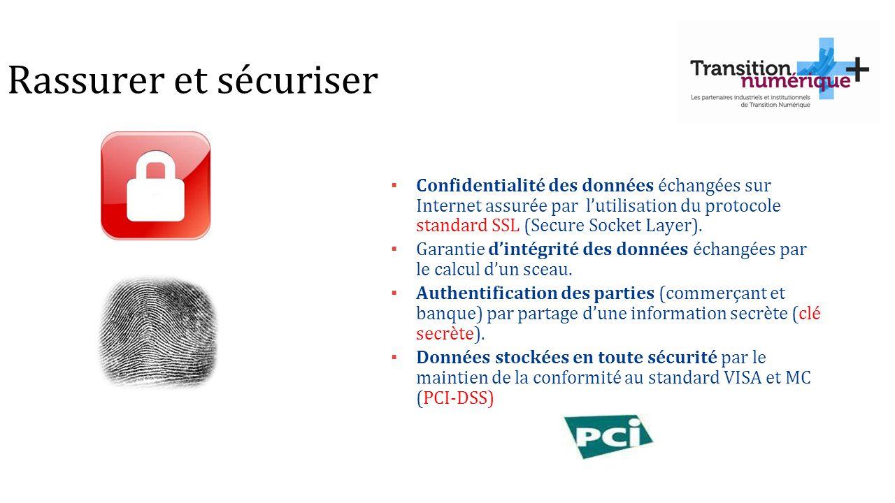 Rassurer et sécuriser Confidentialité des données échangées sur Internet assurée par l'utilisation du protocole standard SSL (Secure Socket Layer).