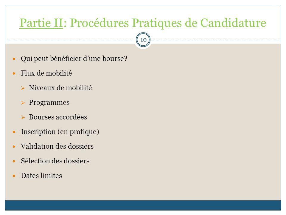 Partie II: Procédures Pratiques de Candidature