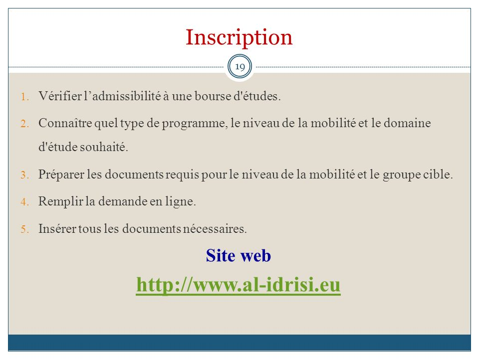 Inscription http://www.al-idrisi.eu Site web