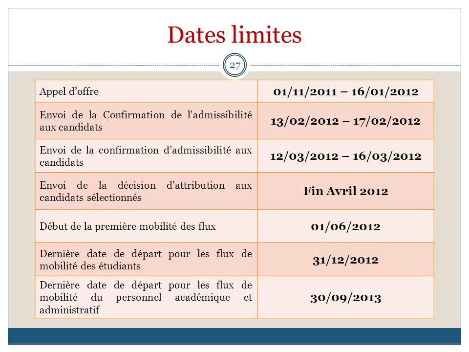 Dates limites 01/11/2011 – 16/01/2012 13/02/2012 – 17/02/2012