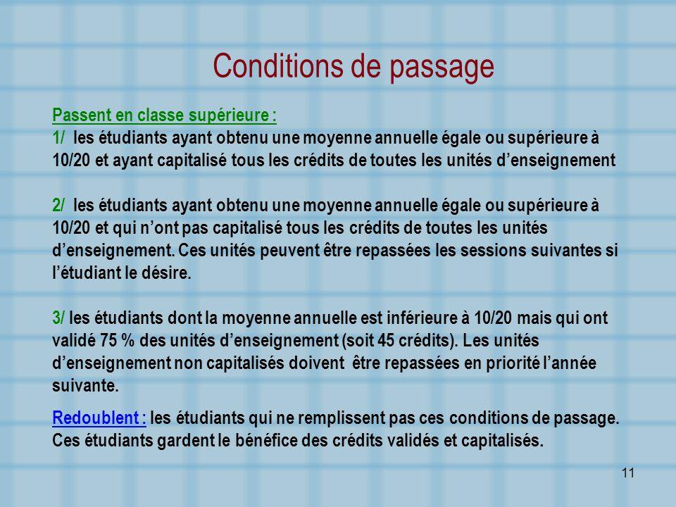 Conditions de passage Passent en classe supérieure :