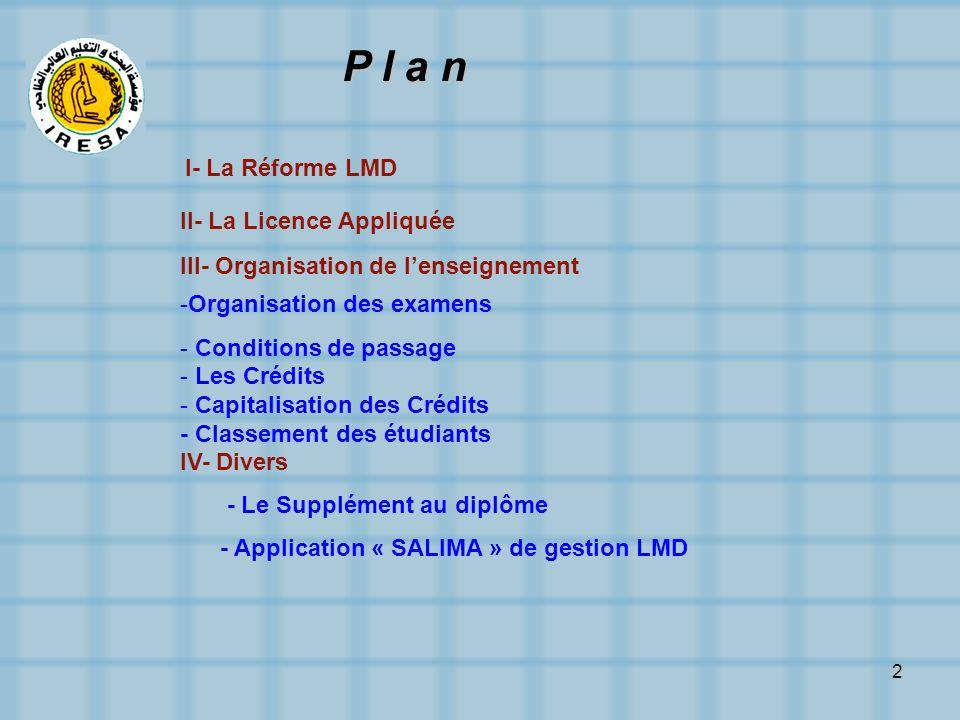 P l a n I- La Réforme LMD II- La Licence Appliquée