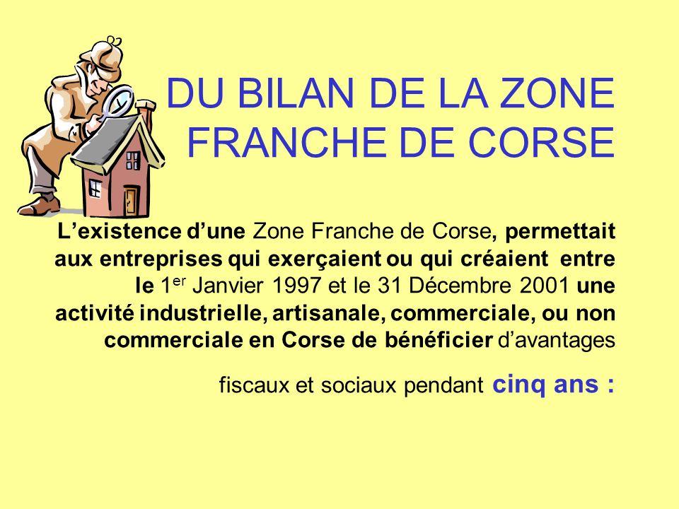 DU BILAN DE LA ZONE FRANCHE DE CORSE L'existence d'une Zone Franche de Corse, permettait aux entreprises qui exerçaient ou qui créaient entre le 1er Janvier 1997 et le 31 Décembre 2001 une activité industrielle, artisanale, commerciale, ou non commerciale en Corse de bénéficier d'avantages fiscaux et sociaux pendant cinq ans :