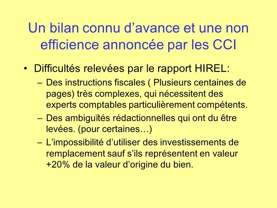 Un bilan connu d'avance et une non efficience annoncée par les CCI