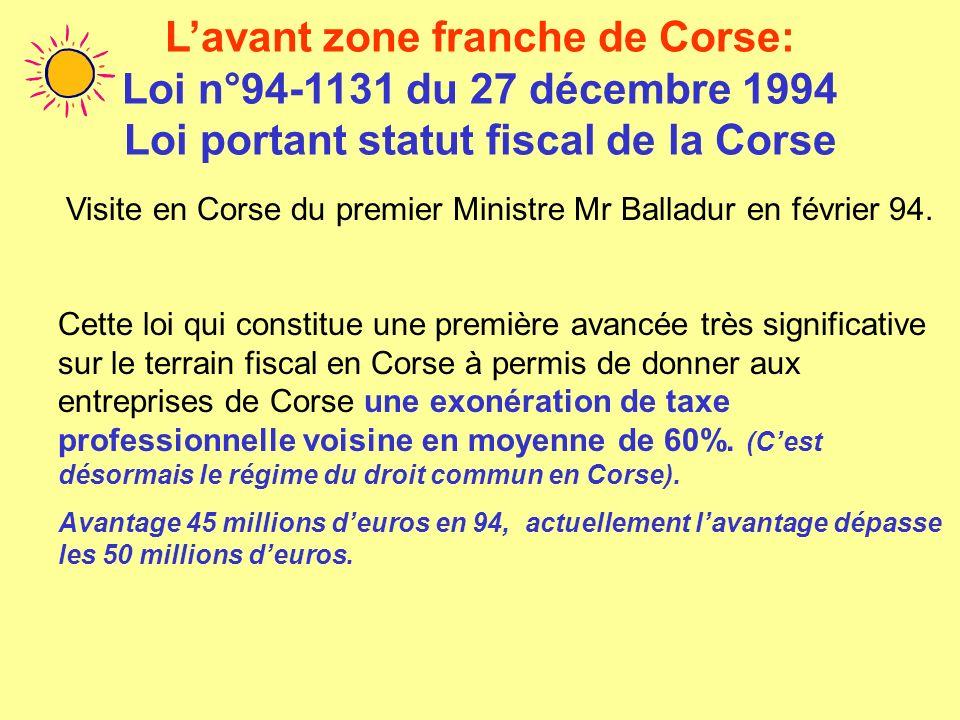L'avant zone franche de Corse: