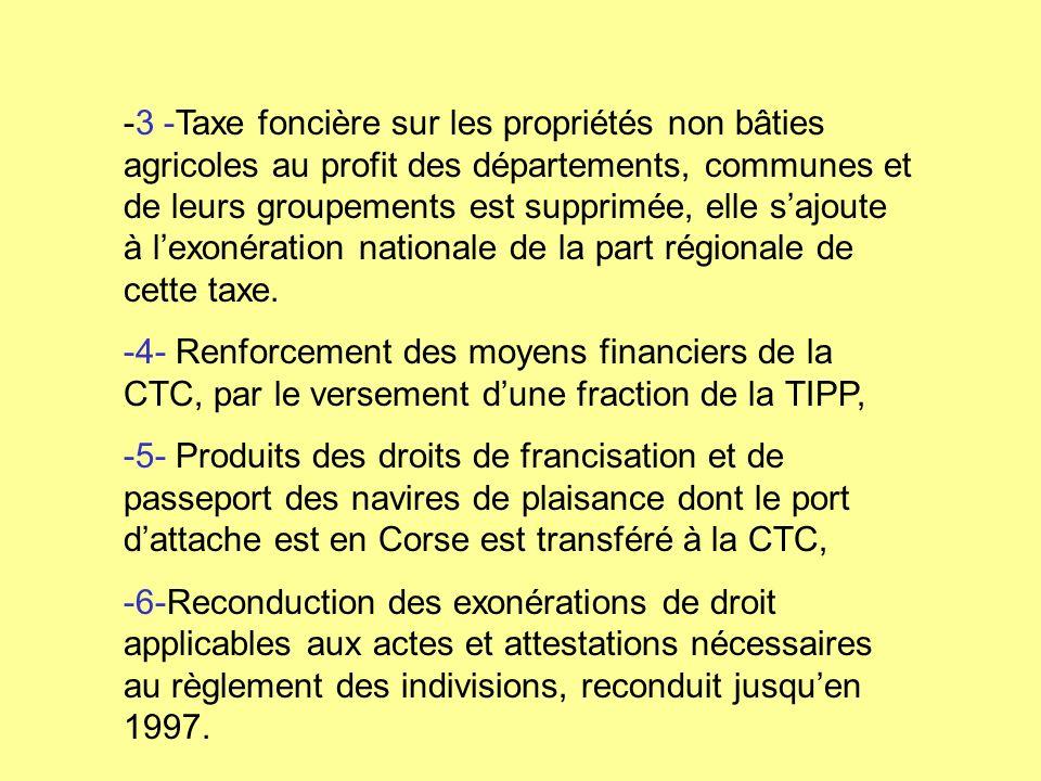 -3 -Taxe foncière sur les propriétés non bâties agricoles au profit des départements, communes et de leurs groupements est supprimée, elle s'ajoute à l'exonération nationale de la part régionale de cette taxe.