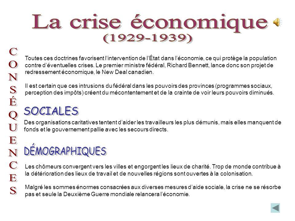 La crise économique (1929-1939) SOCIALES DÉMOGRAPHIQUES C O N S É Q U