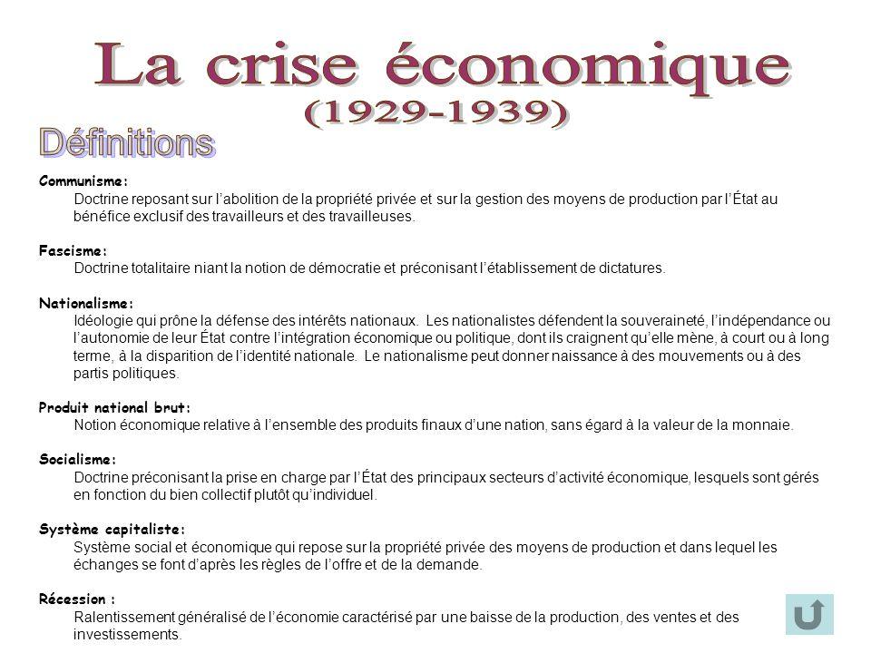 La crise économique (1929-1939) Définitions Communisme: