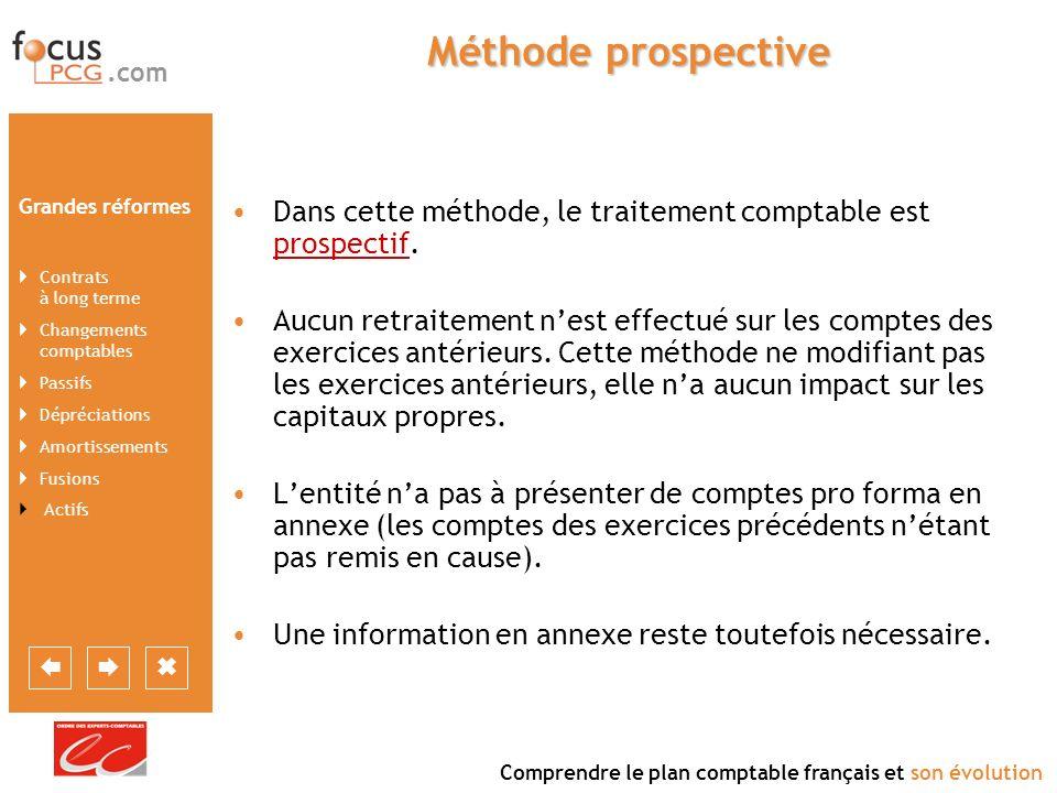 Méthode prospectiveDans cette méthode, le traitement comptable est prospectif.