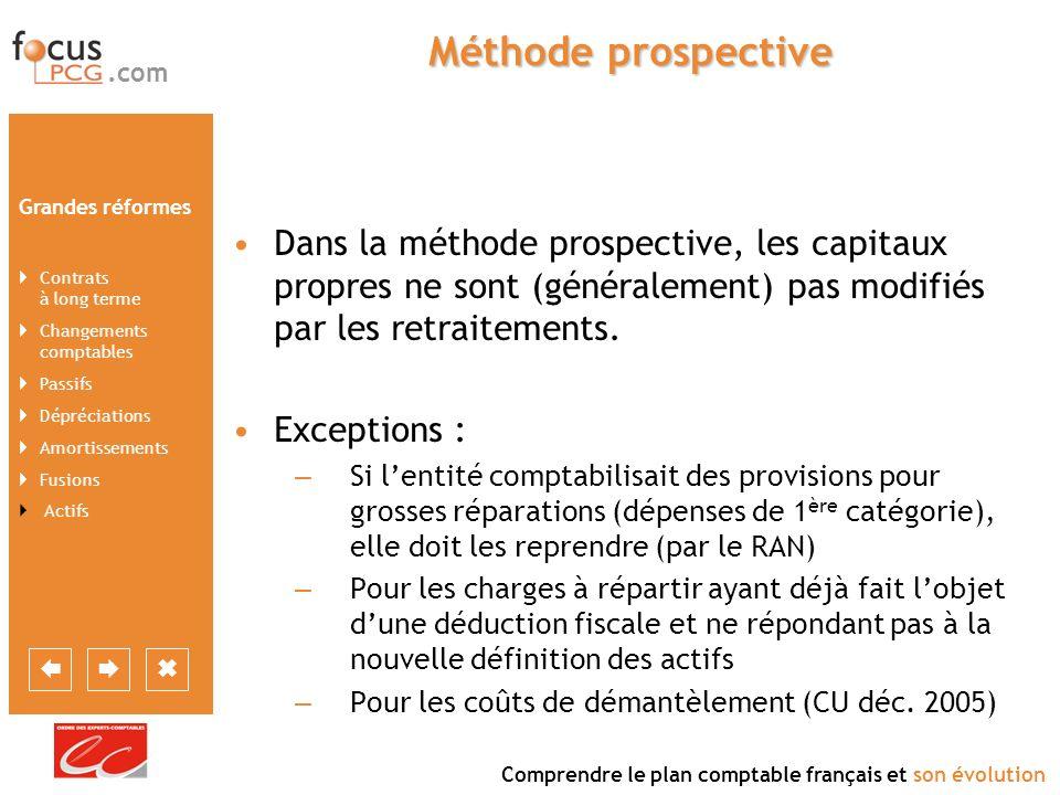 Méthode prospective Dans la méthode prospective, les capitaux propres ne sont (généralement) pas modifiés par les retraitements.