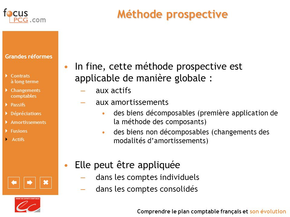 Méthode prospective In fine, cette méthode prospective est applicable de manière globale : aux actifs.