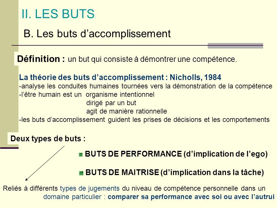 II. LES BUTS B. Les buts d'accomplissement