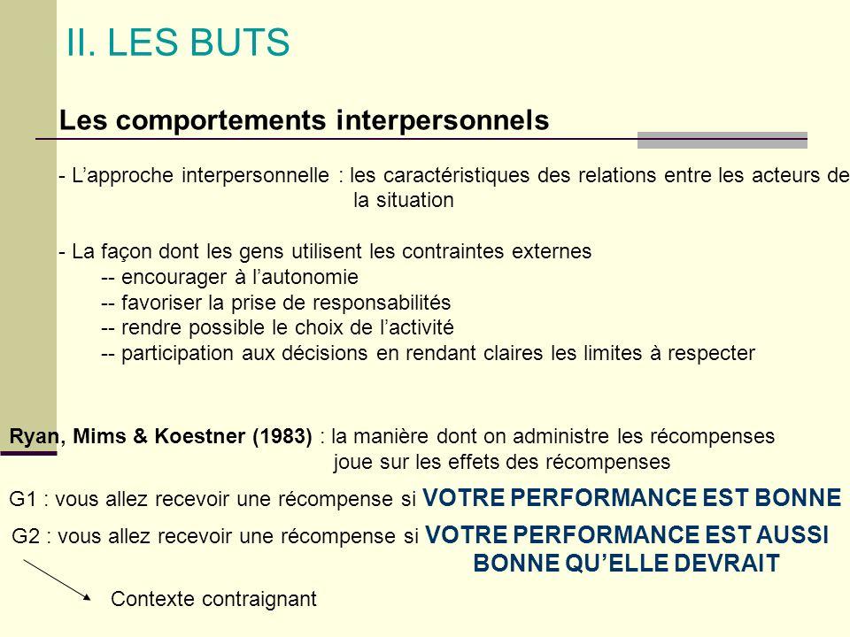 II. LES BUTS Les comportements interpersonnels BONNE QU'ELLE DEVRAIT