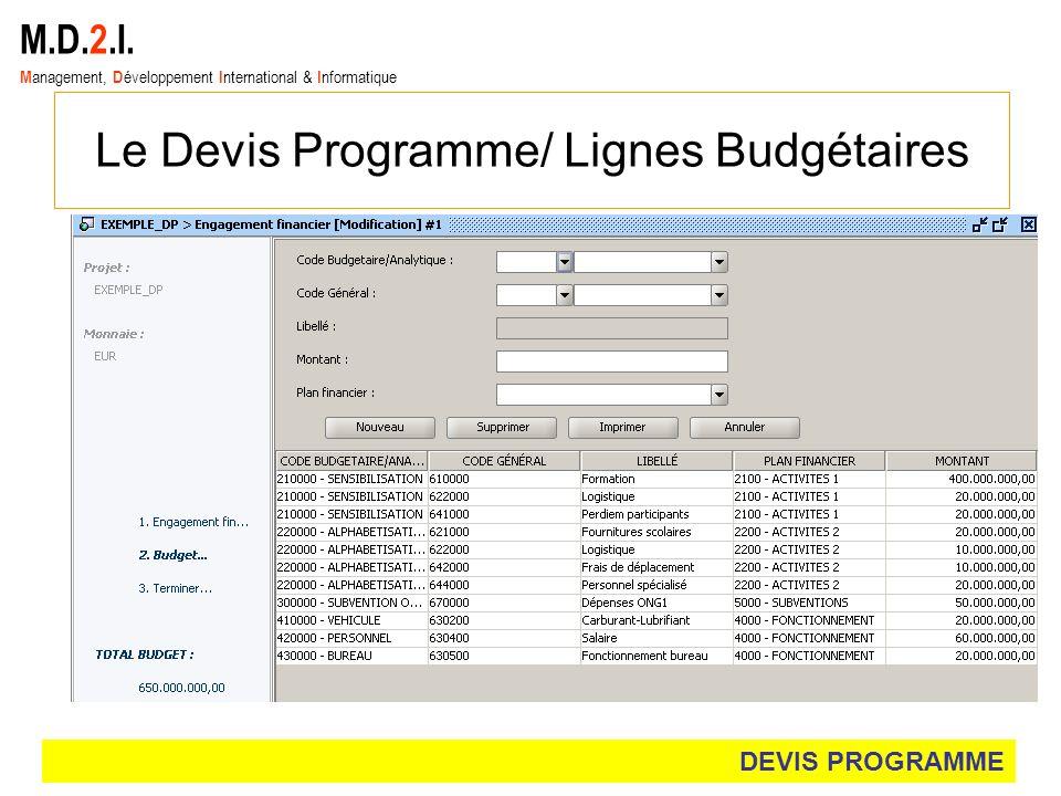 Le Devis Programme/ Lignes Budgétaires