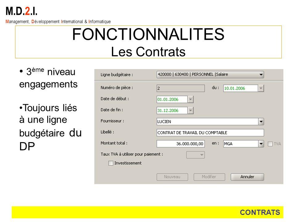 FONCTIONNALITES Les Contrats M.D.2.I. 3ème niveau engagements