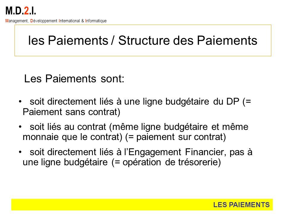les Paiements / Structure des Paiements