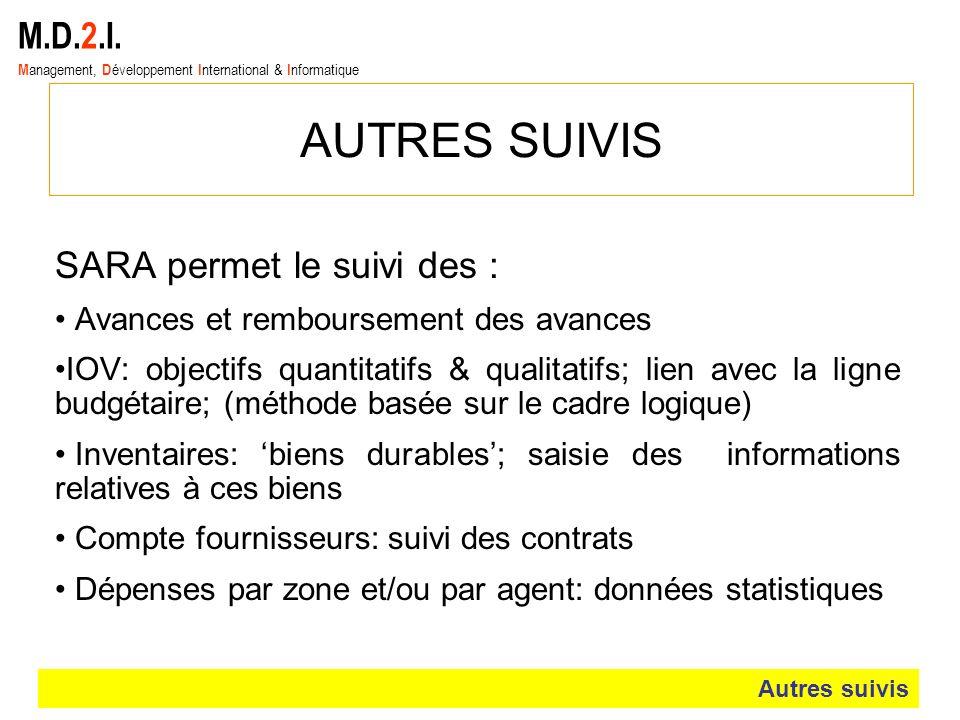 AUTRES SUIVIS M.D.2.I. SARA permet le suivi des :