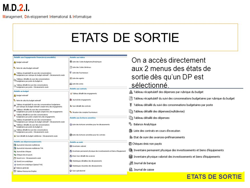 M.D.2.I. Management, Développement International & Informatique. ETATS DE SORTIE.