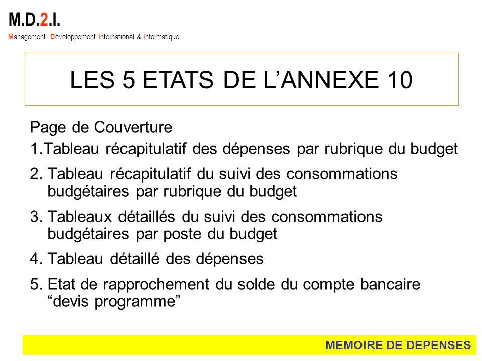 LES 5 ETATS DE L'ANNEXE 10 M.D.2.I. Page de Couverture
