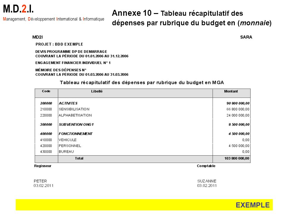 M.D.2.I. Management, Développement International & Informatique. Annexe 10 – Tableau récapitulatif des dépenses par rubrique du budget en (monnaie)