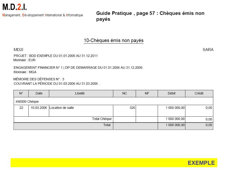 M.D.2.I. EXEMPLE Guide Pratique , page 57 : Chèques émis non payés