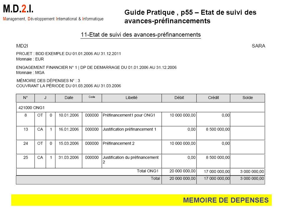 M.D.2.I. Management, Développement International & Informatique. Guide Pratique , p55 – Etat de suivi des avances-préfinancements.