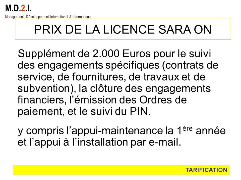 PRIX DE LA LICENCE SARA ON