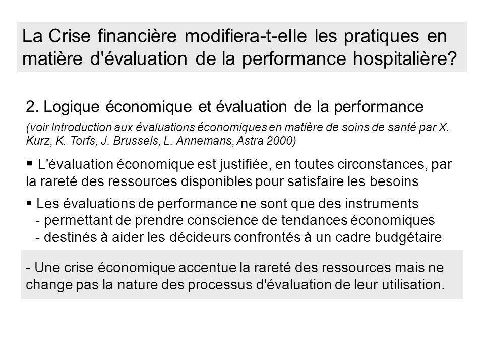 La Crise financière modifiera-t-elle les pratiques en matière d évaluation de la performance hospitalière