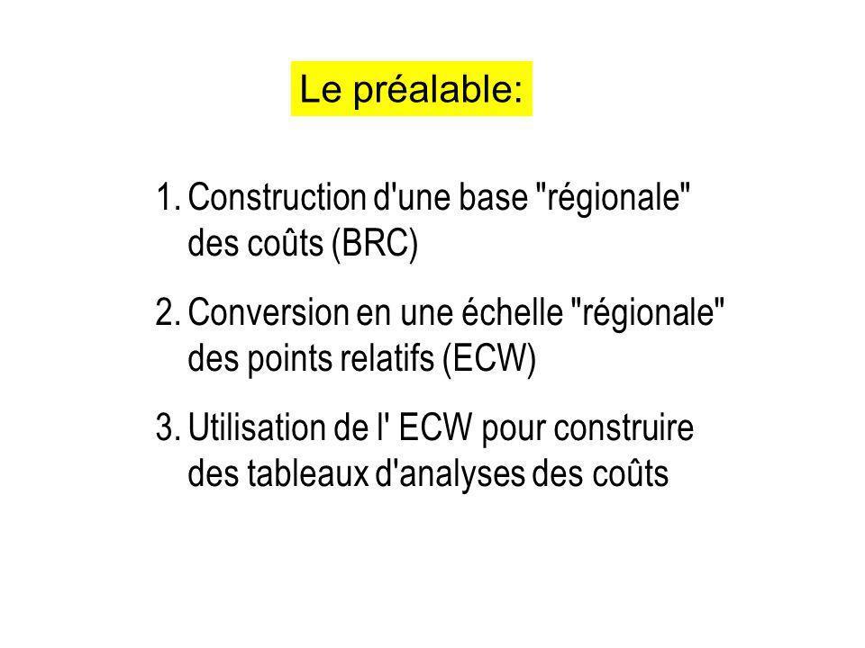 Le préalable: Construction d une base régionale des coûts (BRC) Conversion en une échelle régionale des points relatifs (ECW)