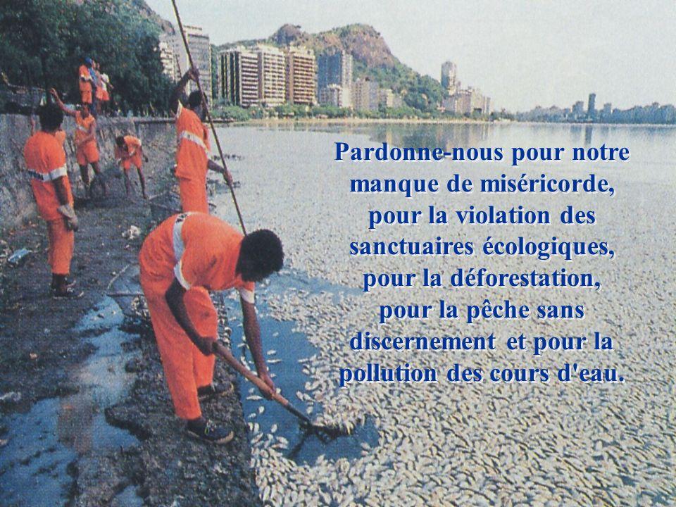 Pardonne-nous pour notre manque de miséricorde, pour la violation des sanctuaires écologiques, pour la déforestation, pour la pêche sans discernement et pour la pollution des cours d eau.