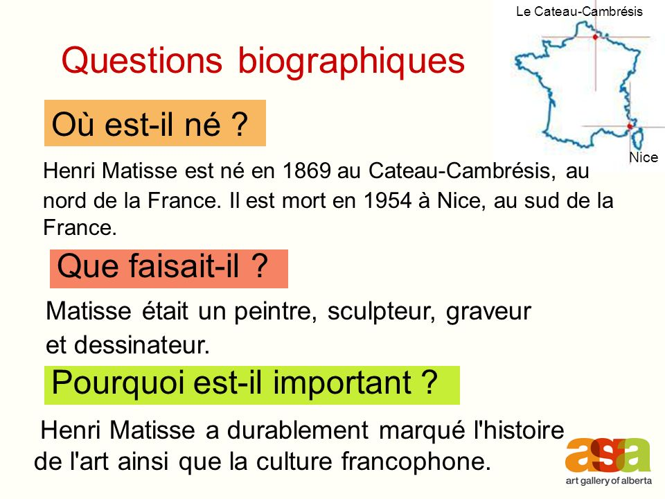 Questions biographiques
