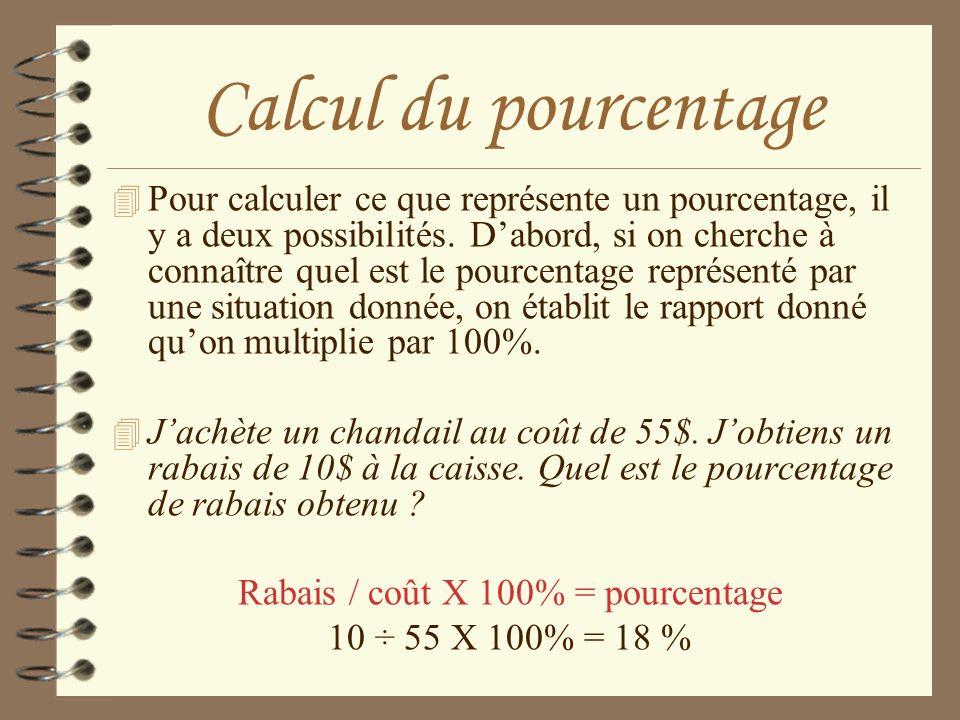 Rabais / coût X 100% = pourcentage