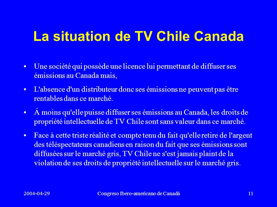 La situation de TV Chile Canada