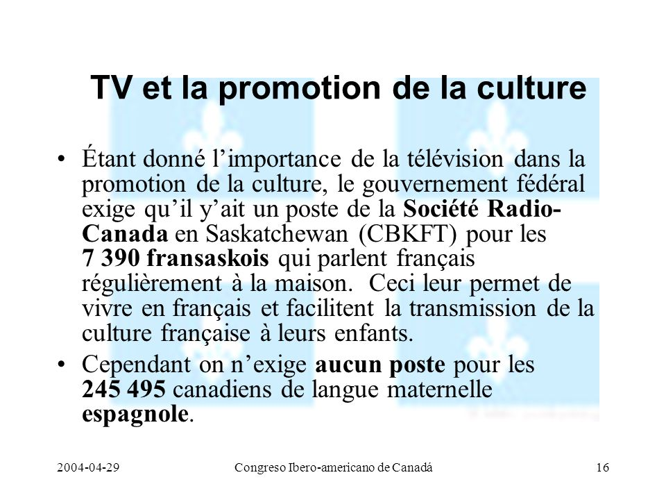 TV et la promotion de la culture