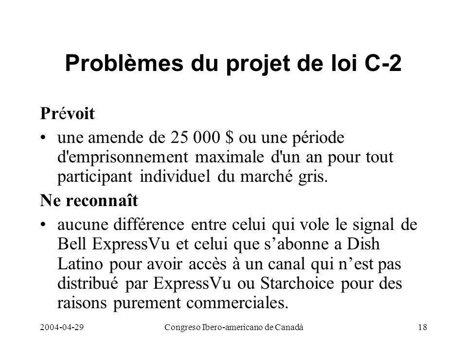 Problèmes du projet de loi C-2