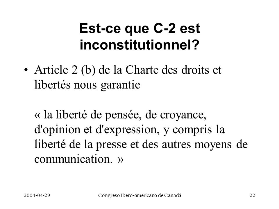 Est-ce que C-2 est inconstitutionnel