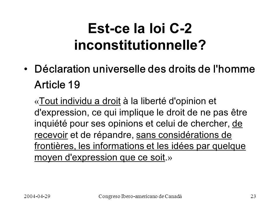 Est-ce la loi C-2 inconstitutionnelle