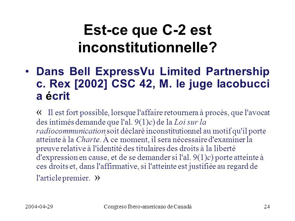 Est-ce que C-2 est inconstitutionnelle