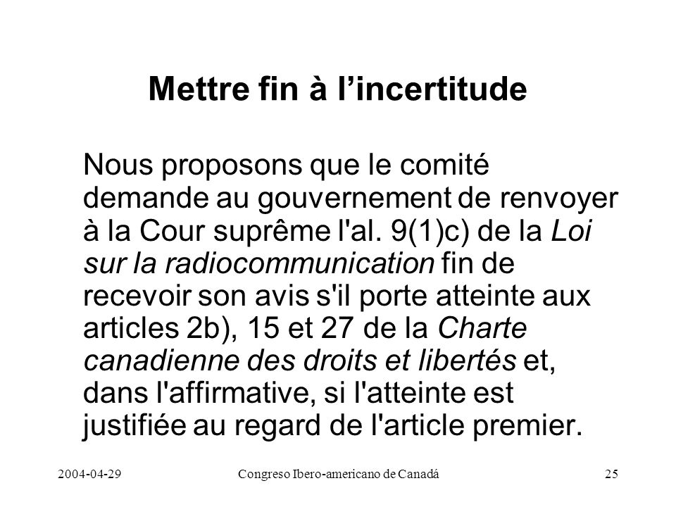 Mettre fin à l'incertitude