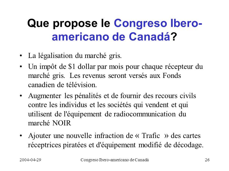 Que propose le Congreso Ibero-americano de Canadá