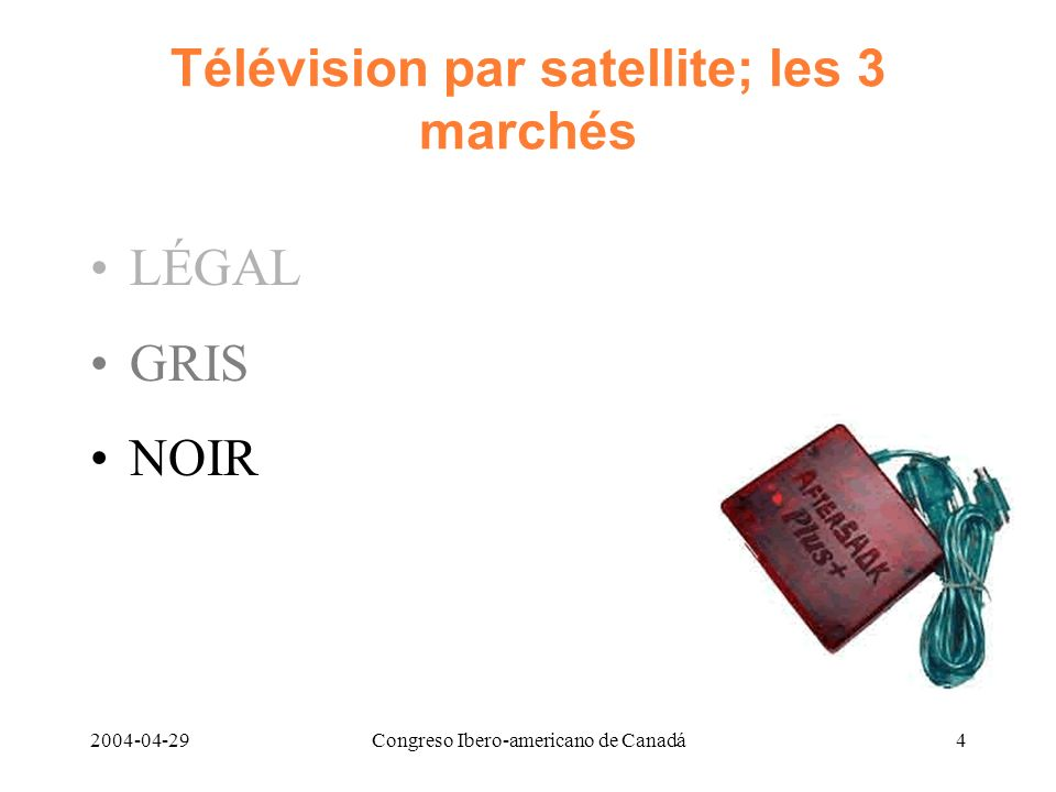 Télévision par satellite; les 3 marchés
