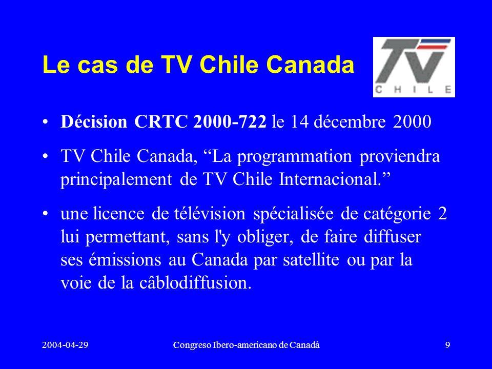Le cas de TV Chile Canada